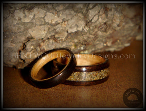 Bentwood Rings Set - Ebony Wood Ring Set with Birch Liner and Canadian Beach Sand Inlay