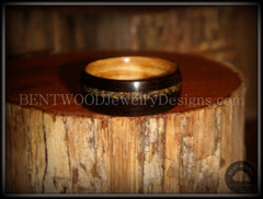 Bentwood Ring - Macassar Ebony Olive Wood Liner and Offset Canadian Beach Sand Inlay - Bentwood Jewelry Designs - Custom Handcrafted Bentwood Wood Rings  - 3