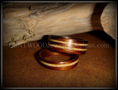 Bentwood Rings Set - Rosewood Wooden Ring Set with Fossil Inlays - Bentwood Jewelry Designs - Custom Handcrafted Bentwood Wood Rings  - 2