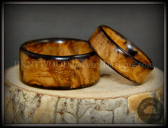 "Bentwood Rings Set - ""Classic Smokies"" Bethlehem Olivewood Wood Ring Set handcrafted bentwood wooden rings wood wedding ring engagement"