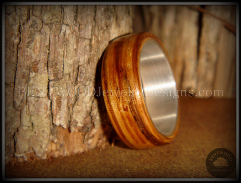 "Bentwood Ring - ""Zebrano"" African Zebrawood Wood Ring on Fine Silver Core"