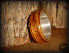 "Bentwood Ring - ""Zebrano"" African Zebrawood Wood Ring on Fine Silver Core - Bentwood Jewelry Designs - Custom Handcrafted Bentwood Wood Rings  - 1"