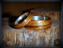 Bentwood Rings Set - Zebrawood Ring Set with Silver Metal Core handcrafted bentwood wooden rings wood wedding ring engagement
