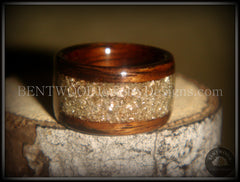 Bentwood Ring - Rosewood Wood Ring with Crushed Silver Glass Inlay handcrafted bentwood wooden rings wood wedding ring engagement