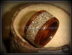 Bentwood Ring - Rosewood Wood Ring with Crushed Silver Glass Inlay - Bentwood Jewelry Designs - Custom Handcrafted Bentwood Wood Rings