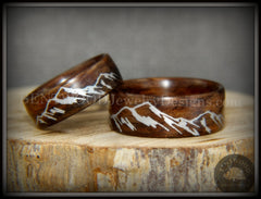 "Bentwood Rings Set - ""Silver Mountains"" Rosewood Rings with Silver Mountainscape Inlay Engraving handcrafted bentwood wooden rings wood wedding ring engagement"