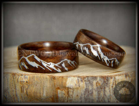 "Bentwood Rings Set - ""Silver Mountains"" Rosewood Rings with Silver Mountainscape Inlay Engraving"