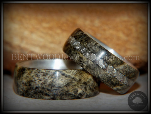 "Bentwood Rings Set - ""Ohio"" Buckeye Burl on Silver Core Classic and Glass Inlay"