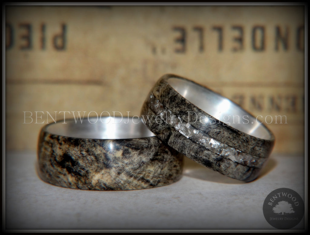 Bentwood Rings Set Quot Ohio Quot Buckeye Burl On Silver Core