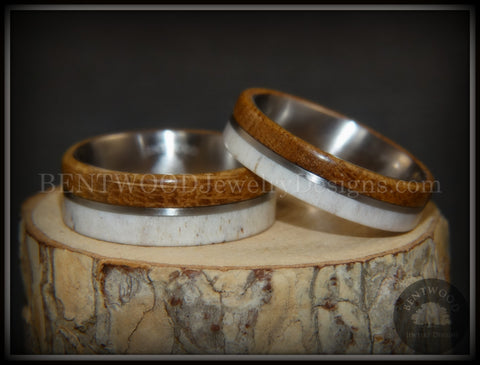 "Bentwood Rings - ""The Great Outdoors Couple"" Set Antler, Whiskey Barrel Oak, Titanium Inlay and Core"