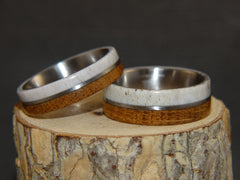 "Bentwood Rings - ""The Great Outdoors Couple"" Set Antler, Whiskey Barrel Oak, Titanium Inlay and Core handcrafted bentwood wooden rings wood wedding ring engagement"