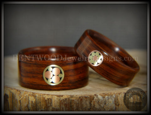 "Bentwood Rings Set - ""Metal Mosaic"" Kingwood Rings with Copper & Brass Pattern Inlay"