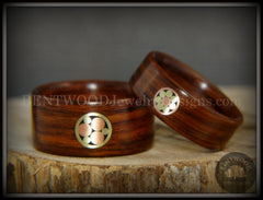 "Bentwood Rings Set - ""Metal Mosaic"" Kingwood Rings with Copper & Brass Pattern Inlay handcrafted bentwood wooden rings wood wedding ring engagement"