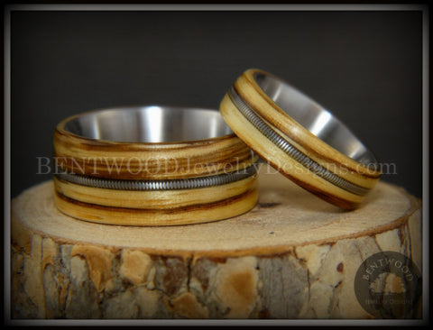 "Bentwood Rings Set - ""Striped Rock & Roll Couple"" Zebrawood with Matching Silver Electric Guitar String Inlays on Titanium Steel Core"