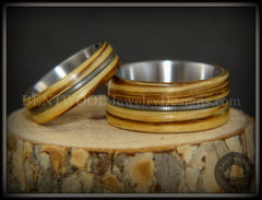 "Bentwood Rings Set - ""Striped Rock & Roll Couple"" Zebrawood with Matching Silver Electric Guitar String Inlays on Titanium Steel Core handcrafted bentwood wooden rings wood wedding ring engagement"