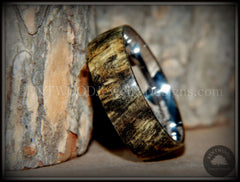 "Bentwood Ring - ""Ohio"" Buckeye Burl Wood Ring with Surgical Grade Stainless Steel Comfort Fit Metal Core handcrafted bentwood wooden rings wood wedding ring engagement"