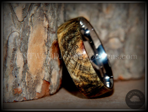 "Bentwood Ring - ""Ohio"" Buckeye Burl Wood Ring with Surgical Grade Stainless Steel Comfort Fit Metal Core"