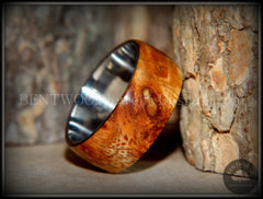 "Bentwood Ring - ""Exotic"" Afzelia Burl (Rare) Wood Ring with Surgical Grade Stainless Steel Comfort Fit Metal Core handcrafted bentwood wooden rings wood wedding ring engagement"