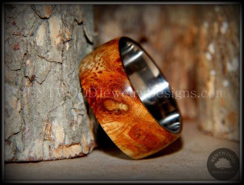 "Bentwood Ring - ""Exotic"" Afzelia Burl (Rare) Wood Ring with Surgical Grade Stainless Steel Comfort Fit Metal Core"