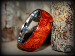 "Bentwood Ring - ""Rarity"" Amboyna Burl Wood Ring with Surgical Grade Stainless Steel Comfort Fit Metal Core - Bentwood Jewelry Designs - Custom Handcrafted Bentwood Wood Rings  - 2"
