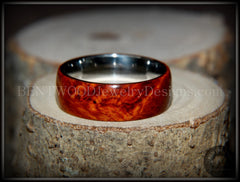 "Bentwood Ring - ""Rarity"" Amboyna Burl Wood Ring with Surgical Grade Stainless Steel Comfort Fit Metal Core - Bentwood Jewelry Designs - Custom Handcrafted Bentwood Wood Rings  - 5"