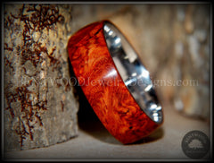 "Bentwood Ring - ""Rarity"" Amboyna Burl Wood Ring with Surgical Grade Stainless Steel Comfort Fit Metal Core - Bentwood Jewelry Designs - Custom Handcrafted Bentwood Wood Rings  - 4"