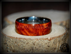 "Bentwood Ring - ""Rarity"" Amboyna Burl Wood Ring with Surgical Grade Stainless Steel Comfort Fit Metal Core - Bentwood Jewelry Designs - Custom Handcrafted Bentwood Wood Rings"
