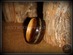 Bentwood Ring - Macassar Ebony Olive Wood Liner and Offset Canadian Beach Sand Inlay - Bentwood Jewelry Designs - Custom Handcrafted Bentwood Wood Rings  - 2