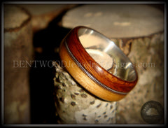 Bentwood Ring - Rosewood & Bamboo Wood Ring with Fine Silver Core and Thick Silver Guitar String Inlay - Bentwood Jewelry Designs - Custom Handcrafted Bentwood Wood Rings  - 4