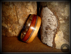 Bentwood Ring - Rosewood & Bamboo Wood Ring with Fine Silver Core and Thick Silver Guitar String Inlay - Bentwood Jewelry Designs - Custom Handcrafted Bentwood Wood Rings  - 2
