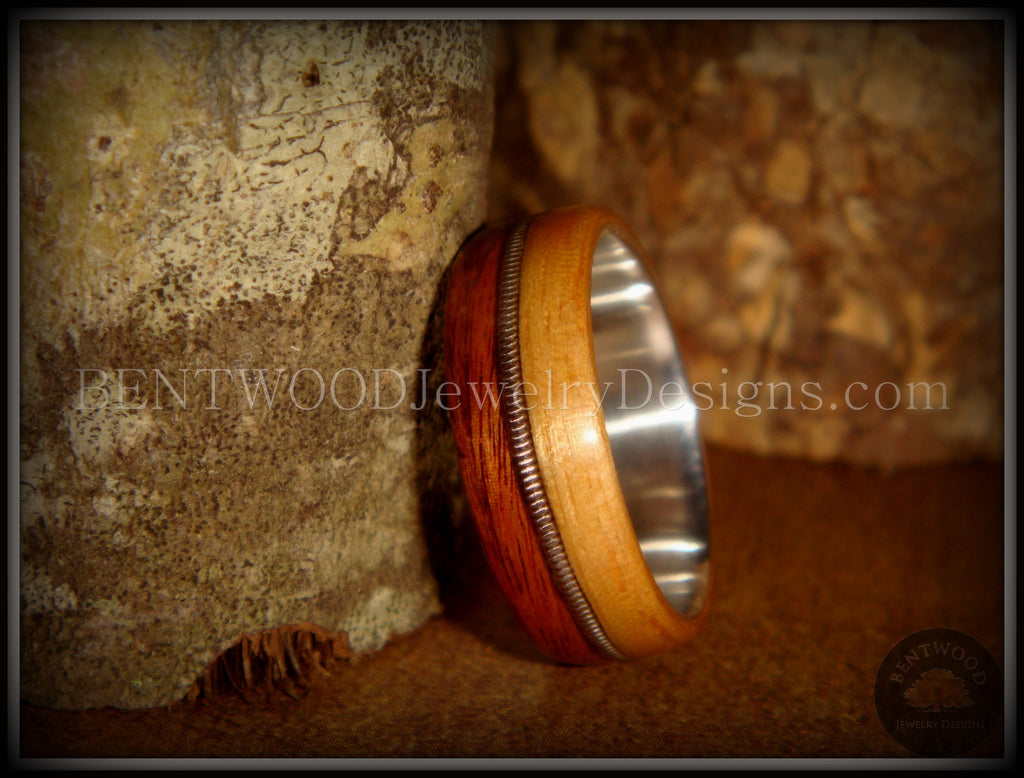 Bentwood Ring - Rosewood & Bamboo Wood Ring with Fine Silver Core and Thick Silver Guitar String Inlay - Bentwood Jewelry Designs - Custom Handcrafted Bentwood Wood Rings