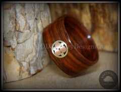 "Bentwood Ring - ""Metal Mosaic"" Kingwood Ring with Copper/Brass Pattern Inlay handcrafted bentwood wooden rings wood wedding ring engagement"