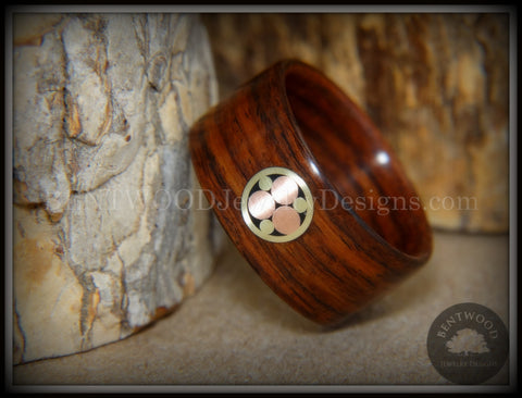 "Bentwood Ring - ""Metal Mosaic"" Kingwood Ring with Copper/Brass Pattern Inlay"