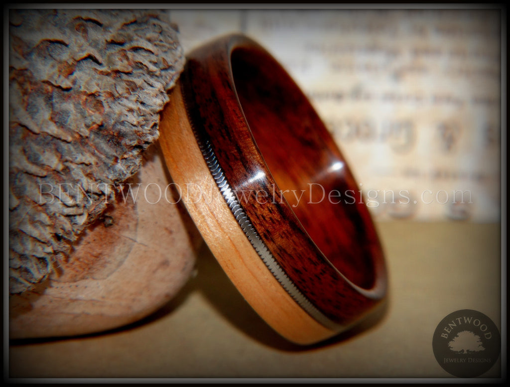 Bentwood Ring - Rosewood and Bamboo Ring with Guitar String Inlay - Bentwood Jewelry Designs - Custom Handcrafted Bentwood Wood Rings  - 1