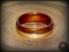 Bentwood Ring - Rosewood and Bamboo Ring with Guitar String Inlay - Bentwood Jewelry Designs - Custom Handcrafted Bentwood Wood Rings