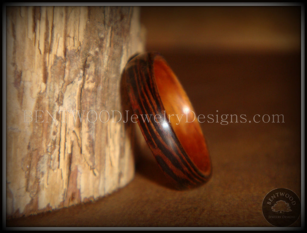 Bentwood Rings - Wenge Wood Ring with Cherry Liner using Bentwood Process - Bentwood Jewelry Designs - Custom Handcrafted Bentwood Wood Rings  - 1