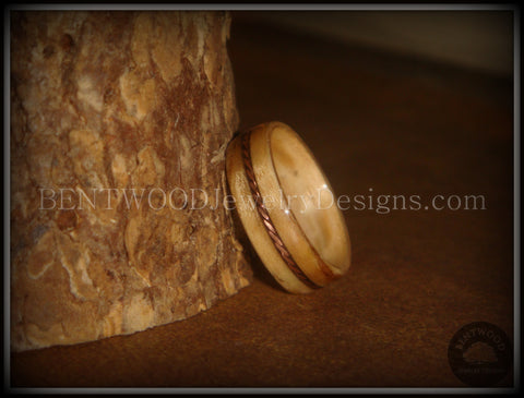 "Bentwood Ring - ""Sacrifice"" Bethlehem Olive Wood Ring with Twisted Copper Inlay"