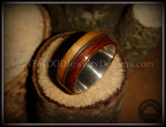 Bentwood Ring - Rosewood & Bamboo Wood Ring with Fine Silver Core and Thick Silver Guitar String Inlay - Bentwood Jewelry Designs - Custom Handcrafted Bentwood Wood Rings  - 3