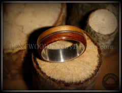Bentwood Ring - Rosewood & Bamboo Wood Ring with Fine Silver Core and Thick Silver Guitar String Inlay - Bentwood Jewelry Designs - Custom Handcrafted Bentwood Wood Rings  - 5