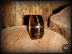 Bentwood Ring - Macassar Ebony Olive Wood Liner and Offset Canadian Beach Sand Inlay - Bentwood Jewelry Designs - Custom Handcrafted Bentwood Wood Rings