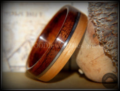 Bentwood Ring - Rosewood and Bamboo Ring with Guitar String Inlay - Bentwood Jewelry Designs - Custom Handcrafted Bentwood Wood Rings  - 2