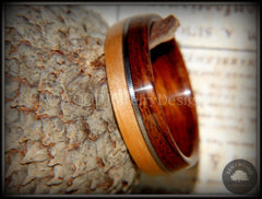 Bentwood Ring - Rosewood and Bamboo Ring with Guitar String Inlay - Bentwood Jewelry Designs - Custom Handcrafted Bentwood Wood Rings  - 4