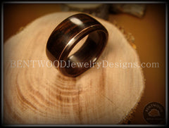 Bentwood Ring - Macassar Ebony Wood Ring with Copper Inlay handcrafted bentwood wooden rings wood wedding ring engagement