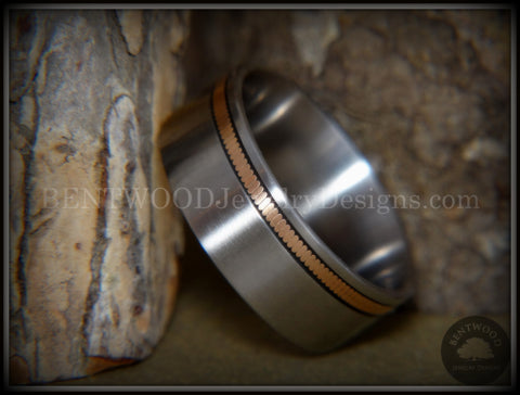 Bentwood Ring - Bronze Guitar String Offset Inlay on Surgical Grade Hypo-Allergenic Stainless Steel Core
