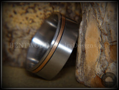 Bentwood Ring - Bronze Guitar String Offset Inlay on Surgical Grade Hypo-Allergenic Stainless Steel Core - Bentwood Jewelry Designs - Custom Handcrafted Bentwood Wood Rings  - 2