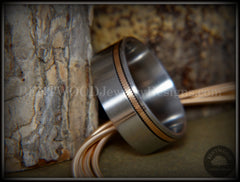 "Tazzy Bentwood Ring - ""Saving Grace"" Bronze Guitar String Offset Inlay on Surgical Grade Hypo-Allergenic Stainless Steel Core handcrafted bentwood wooden rings wood wedding ring engagement"