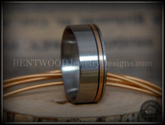 Bentwood Ring - Bronze Guitar String Offset Inlay on Surgical Grade Hypo-Allergenic Stainless Steel Core - Bentwood Jewelry Designs - Custom Handcrafted Bentwood Wood Rings  - 5