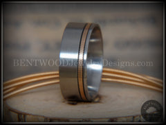 Bentwood Ring - Bronze Guitar String Offset Inlay on Surgical Grade Hypo-Allergenic Stainless Steel Core - Bentwood Jewelry Designs - Custom Handcrafted Bentwood Wood Rings