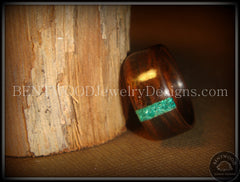 Bentwood Ring - Macassar Ebony Wood Ring and Transverse Malachite Inlay - Bentwood Jewelry Designs - Custom Handcrafted Bentwood Wood Rings  - 4