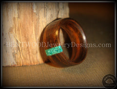 Bentwood Ring - Macassar Ebony Wood Ring and Transverse Malachite Inlay - Bentwood Jewelry Designs - Custom Handcrafted Bentwood Wood Rings  - 2